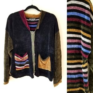 VINTAGE 90s Chenille Stripe Knit Cardigan Sweater